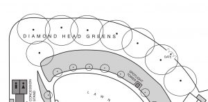 diamond head greens area of a digital graphic, with 8 circles with a dot in the center that represents light poles. Two rectangles at the bottom left of the page represent the restrooms. There is also a gate in the delineated bold line that run above the light pole circles.