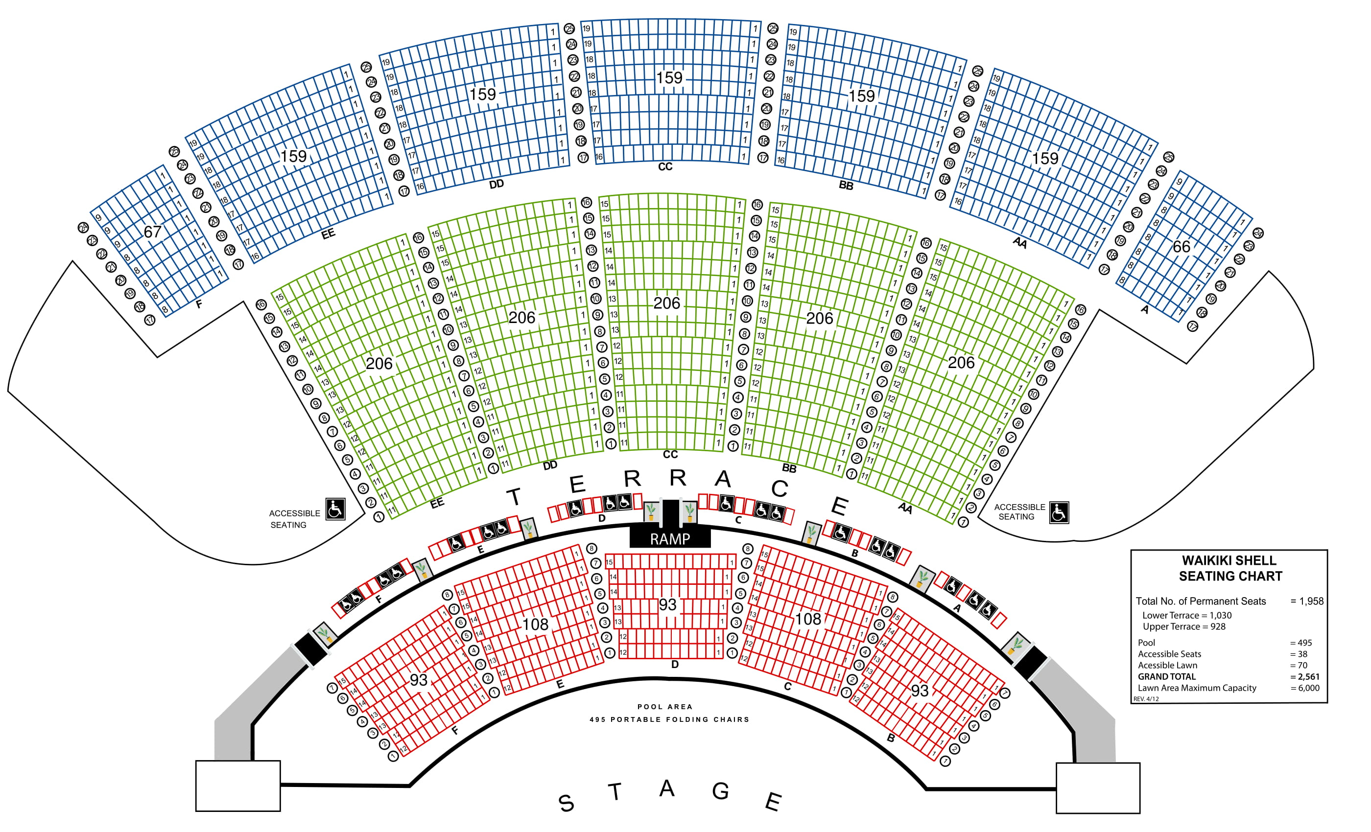 waikiki shell seating map with three different colored sections. blue is the seats at the top of the picture. green are the seats in the center of the picture. and red are the seats in the pool area at the bottom of the page nearest the stage