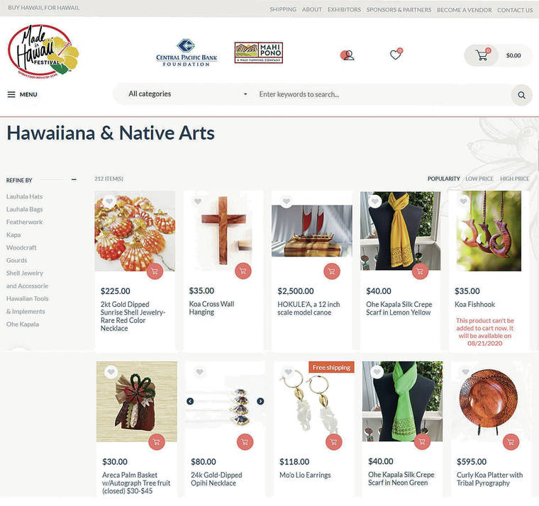 Screen shot of the Made in Hawaii Festival online store courtesy of Made in Hawaii Festival